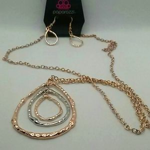 Paparizzi long necklace/ w/ earrings/2 toned